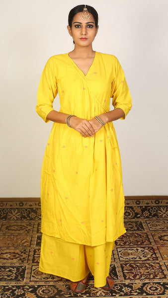 Yellow angrakha kurta set