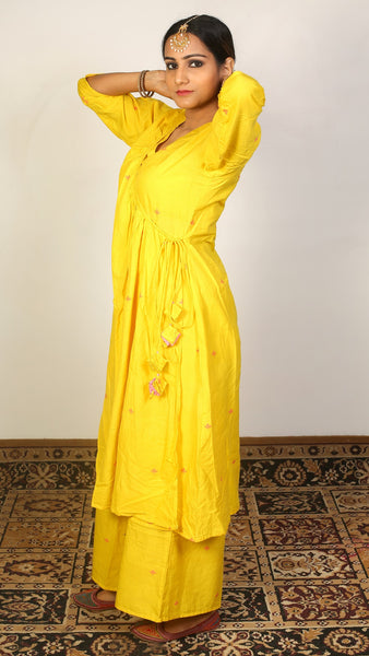 Yellow angrakha kurta