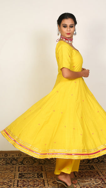 Yellow flared kurta