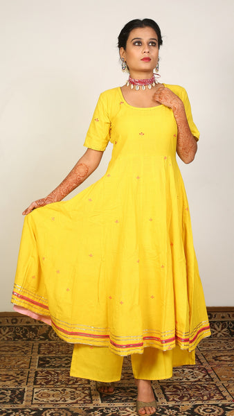 Yellow flared kurta set