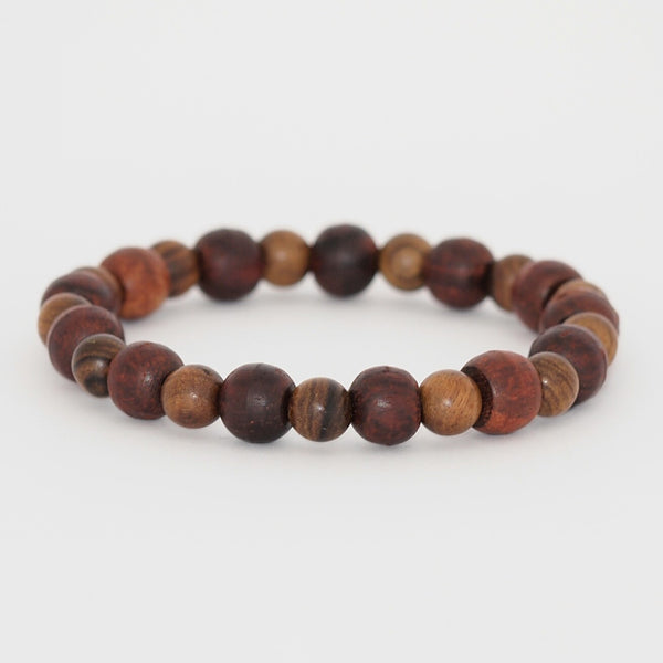 Grace - Red Wood Mala and Black Rosewood Bead Bracelet