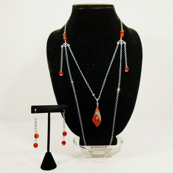 Carnelian Lily Necklace Set