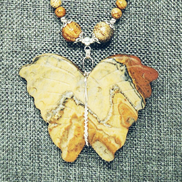 Picture Jasper Butterfly Necklace
