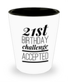 Shot Glasses Birthday Girl- 21 St Birthday Gifts Idea- 21 Birthday Gifts For Her- 21st Birthday Challenge Accepted - Shot Glass - YesECart