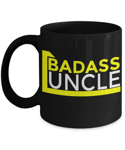 Best Uncle Gifts From Kids - Funny Uncle Gifts From Niece - Best Uncle Mug - I Love My Uncle Mug - Badass Uncle Black Mug - Coffee Mug - YesECart