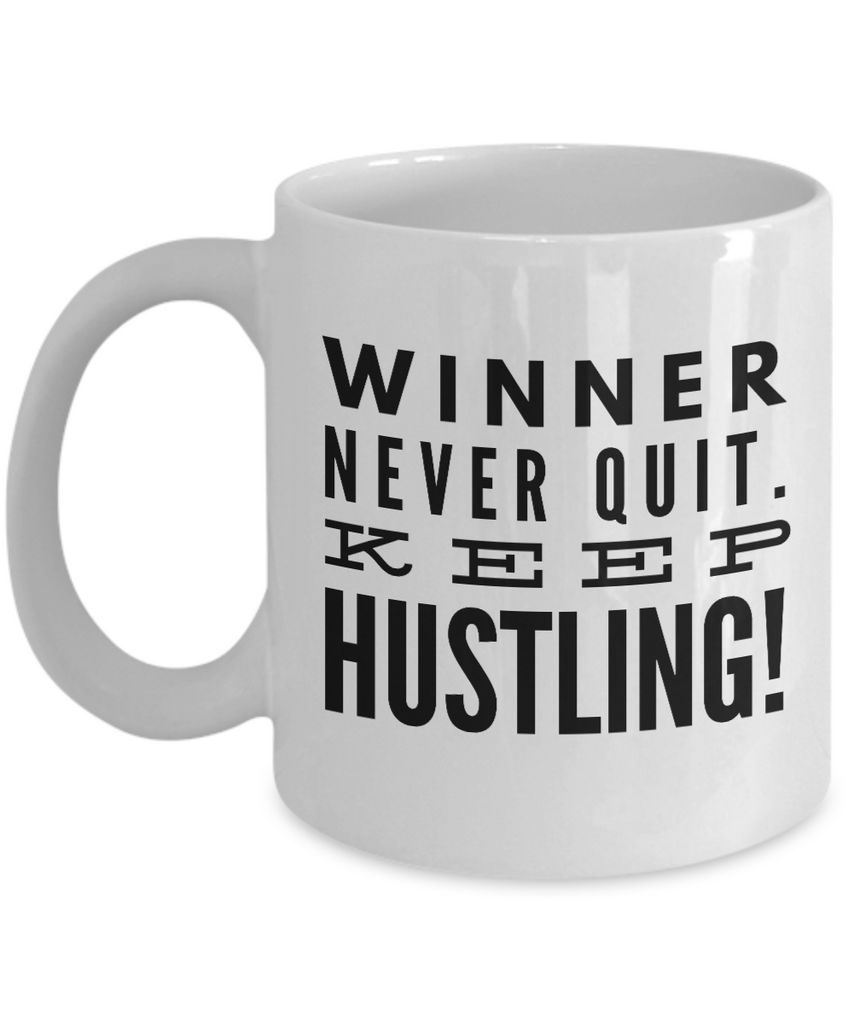 Positive - Winner Never Quit (White) - Coffee Mug - YesECart