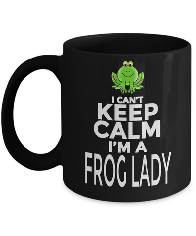 Frog Gifts-Frog Themed Gifts-Frog Mug-Mug Frog-Frog Mom- I Cant Keep Calm I am A Frog Lady Black Mug - Coffee Mug - YesECart