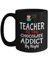Best Teacher Mug - Teacher Gifts For Christmas - Funny Teacher Gift Ideas - Retirement Gifts For Teachers - Teacher By Day Chocolate Addict By Night Black Mug - Coffee Mug - YesECart