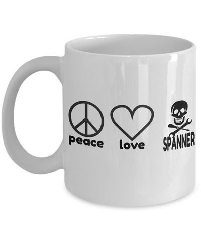 Auto Mechanic Gifts - Gifts For Mechanics - Gifts For A Mechanic - Mechanic Coffee Mug - Peace Love Spanner White Mug - Coffee Mug - YesECart