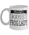 Frog Gifts-Frog Themed Gifts-Frog Mug-Mug Frog-Frog Mom-Worlds Okayest Frog Lady White Mug - Coffee Mug - YesECart