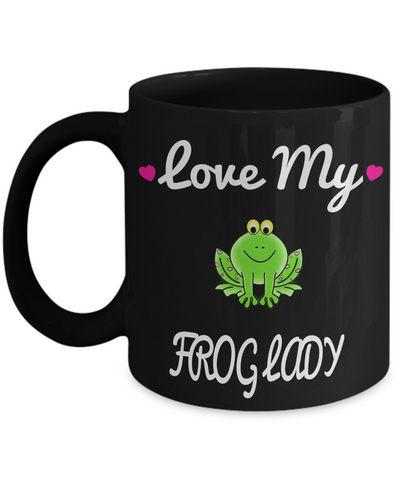 Frog Gifts-Frog Themed Gifts-Frog Mug-Mug Frog-Frog Mom-Love My Frog Lady Black Mug - Coffee Mug - YesECart