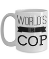 Funny Police Officer Gifts - Police Academy Graduation Gifts - Retired Police Officer Gifts - Police Mug - Worlds Best Cop White Mug - Coffee Mug - YesECart