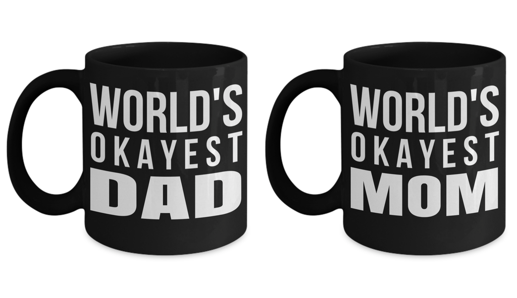 11 Oz Anniversary Gifts For Parents From Kids - Dad Coffee Mugs - dad Gift Box - Worlds Okayest Mom Mug - moms Birthday Gifts - Coffee Mug - YesECart