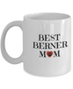 Best Berner Mom Bernese Mountain Dog Doggie By Breed Brown Muddy Paw Prints Doggy Lover Pet Owner, 11 oz White Mug - Coffee Mug - YesECart