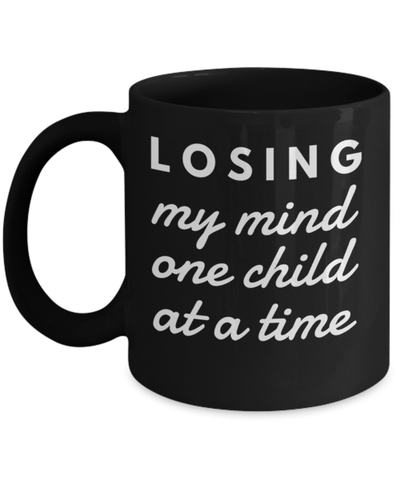 2018 Gifts For Mom - Mom Christmas Gifts From Son Daughter Kids Funny - 11 Oz Black Mug- Losing My Mind One Child At A Time - Coffee Mug - YesECart