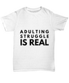 Funny Adulting Gift Idea For New MOM DAD As A Christmas Gifts - Graduation Present Or New Job White Tshirt under 20 dollars Gag