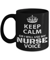 Best Nurse Gifts For Woman - Nurse Gifts - Funny Nurse Mug - Keep Calm or I Will Use My Nurse Voice - Coffee Mug - YesECart