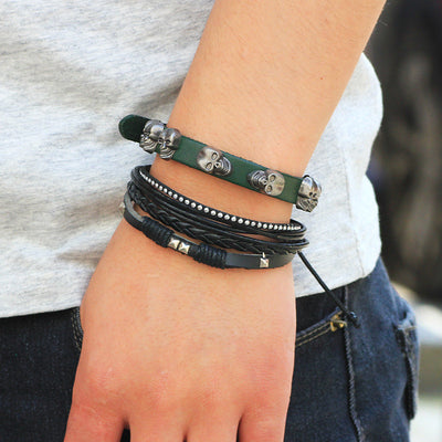 Bead Leather Bracelet Multi layer Wristband Bracelet Men Women - Free Shipping