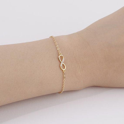 2018 New Fashion Infinity Bracelet for Women with Crystal Stones-Bracelet Infinity Number 8 Chain Bracelets - Free Shipping