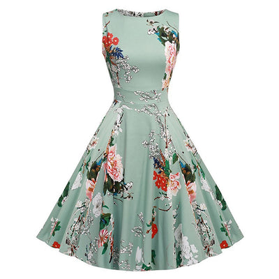 Premium Floral Print Summer Dress Women 2018 Sleeveless - 50s Vintage Dress Belt Wife Elegant Party Dresses - Free Shipping