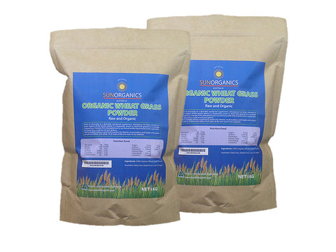 Organic Wheat Grass | SunOrganics |1kg (Twin Pack)