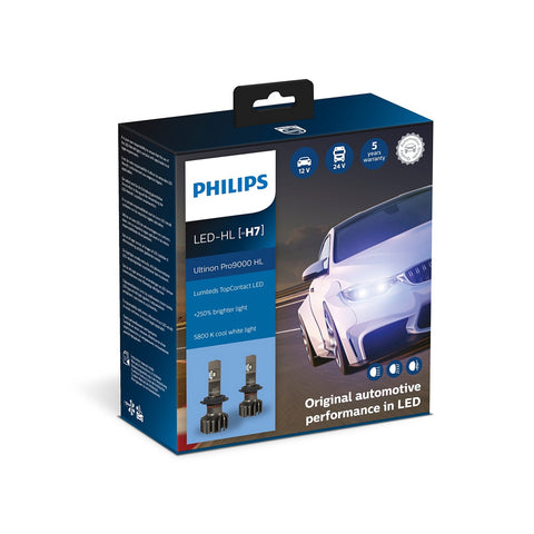H7: LED-Pærer PHILIPS Ultinon Pro9000 +250%