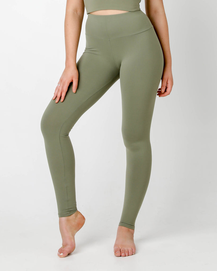 OLIVE PLUSH HIGH WAIST LEGGINGS - MC Activewear and Waist Training