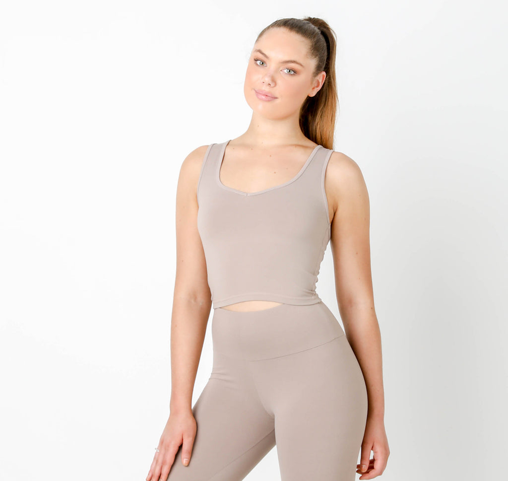 Latte Gia V Short Tank - MC Activewear and Waist Training