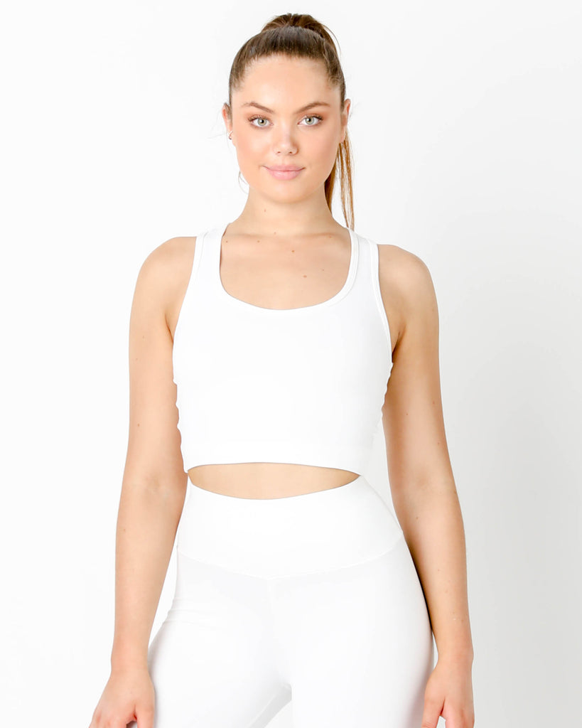 White Gia Crop Racer Tank - MC Activewear and Waist Training