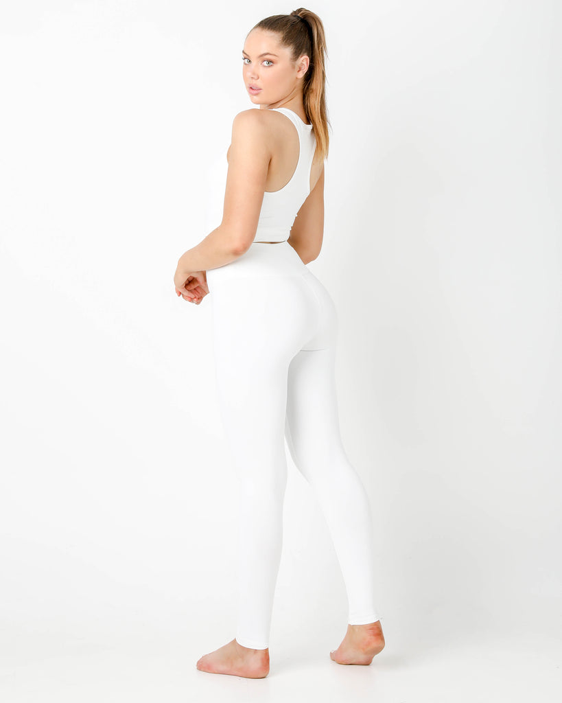 White Plush High Waisted Leggings - MC Activewear and Waist Training