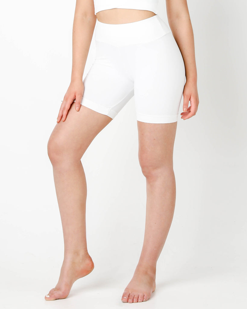 White Bike Shorts - MC Activewear and Waist Training