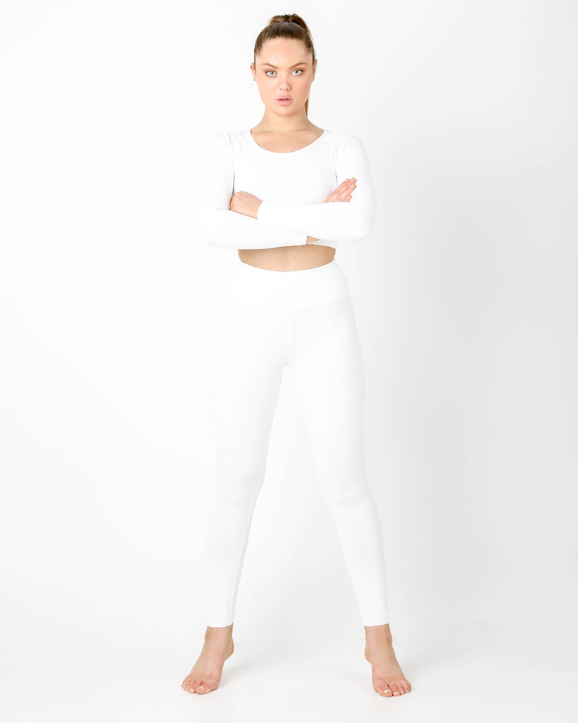 GT White Long Sleeve Top - MC Activewear and Waist Training