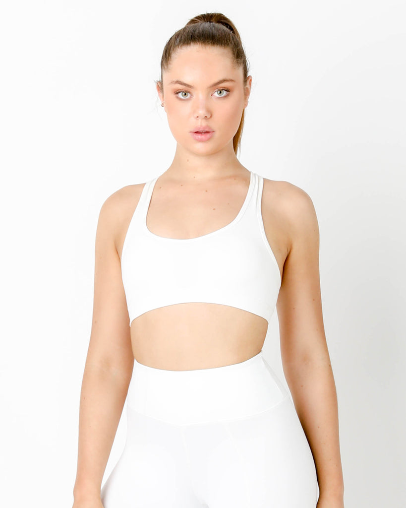White Gia Padded Sports Bra - MC Activewear and Waist Training