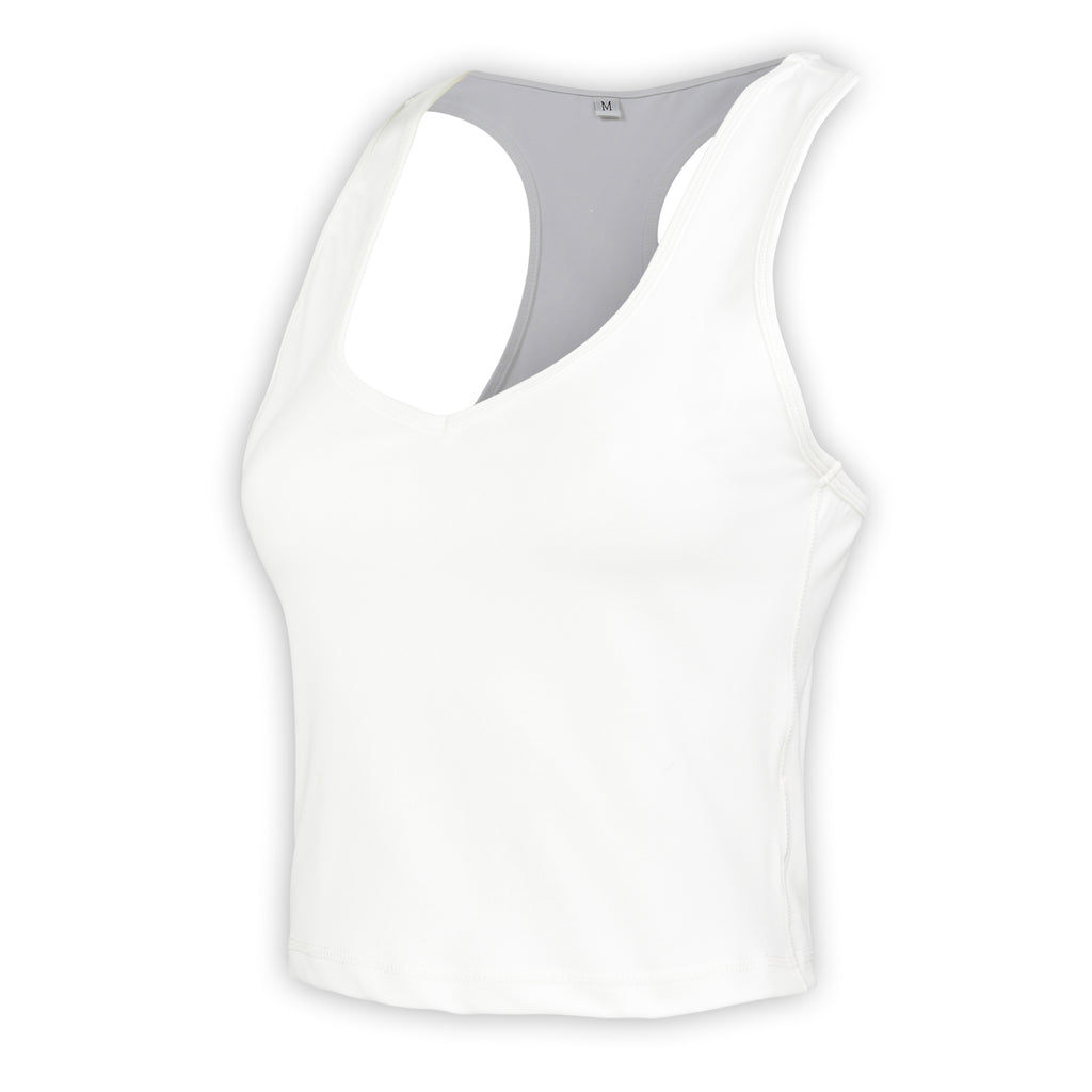White Gia V Short Tank - MC Activewear and Waist Training