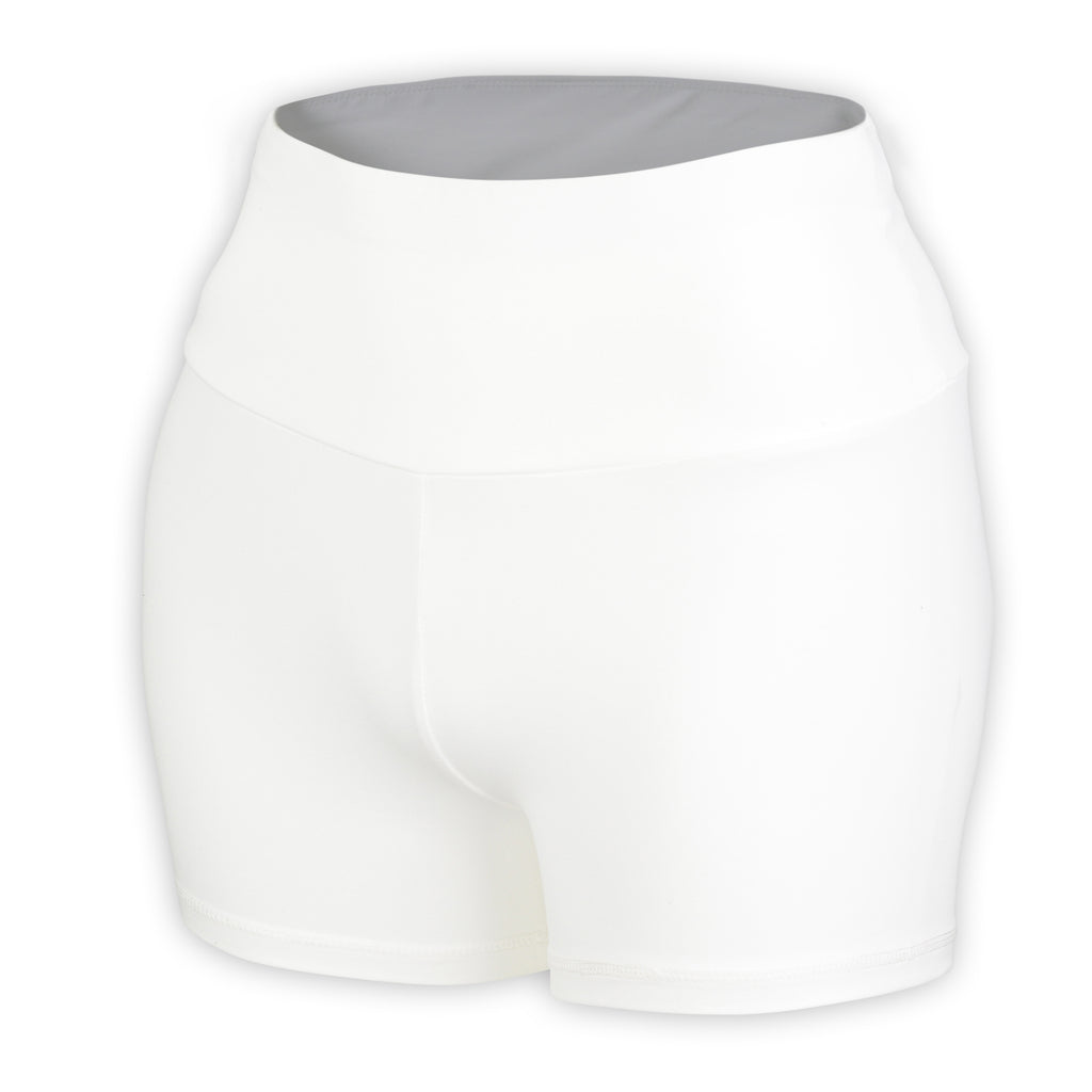 White Plush High Waisted Shorts - MC Activewear and Waist Training
