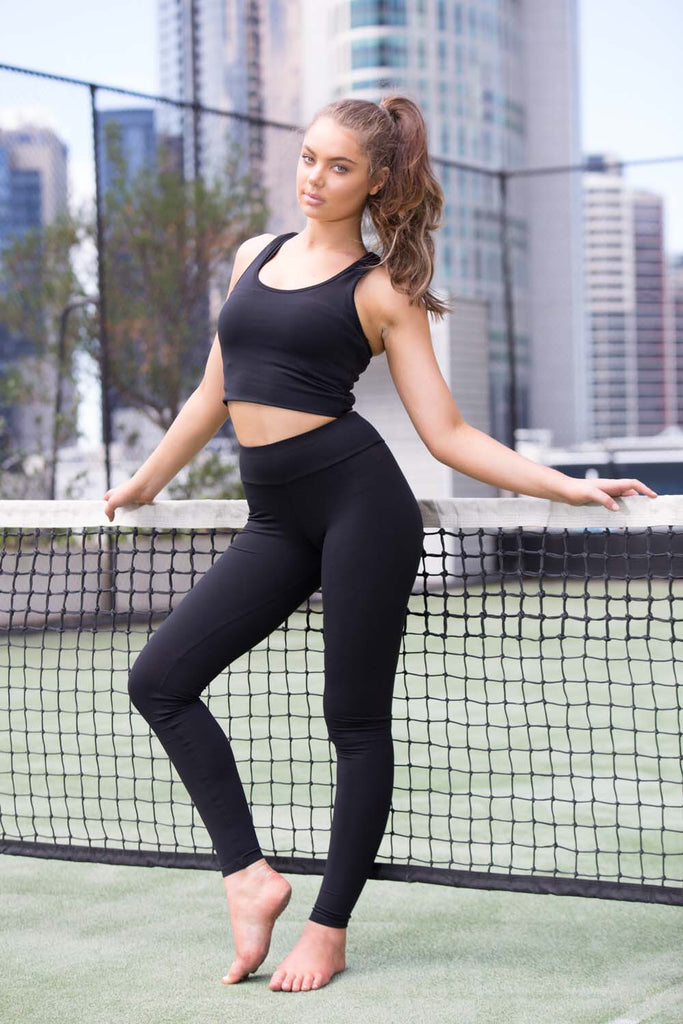 Black Gia Crop Racer Tank - MC Activewear and Waist Training