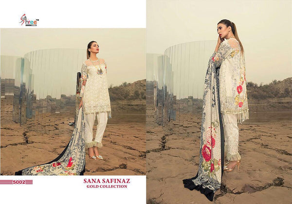 Sana Safinaz Creamy White with Floralwork - Gold 5002