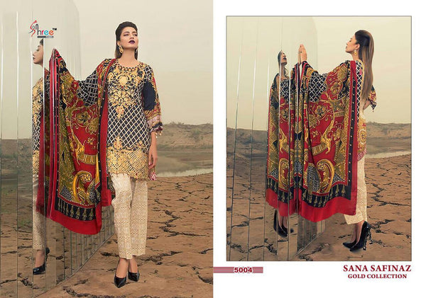 Sana Safinaz Black and Gold with Floralwork - Gold 5004
