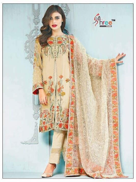 Cream Embroidered Georgette - Decent 1526