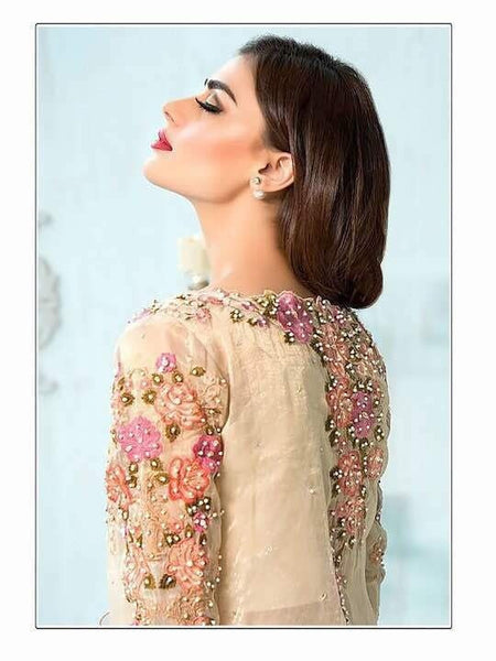 Beige Embroidered Georgette - Decent 1525