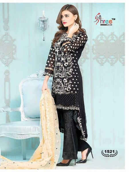 Black Embroidered Georgette - Decent 1521