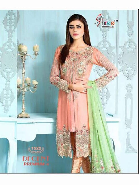 Peach Embroidered Georgette - Decent 1522