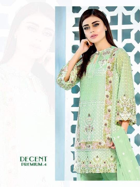 Green Embroidered Georgette - Decent 1524