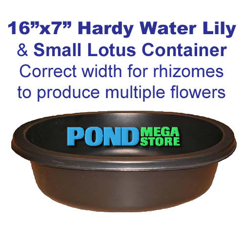 16 x 7 Large Round Hardy Lily and Medium Lotus Planting Container - Pond Megastore Wholesale Waterlilies Dept