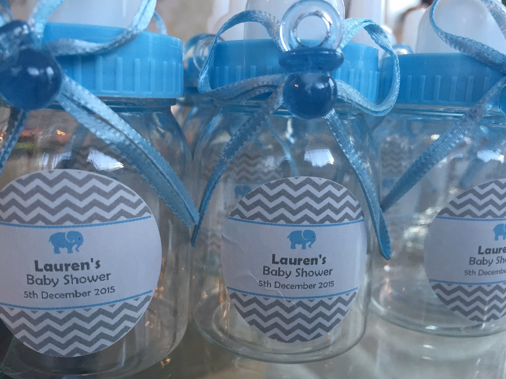 Adorable 10 Blue Baby Shower Bottle Favours Pretty Things By Dee