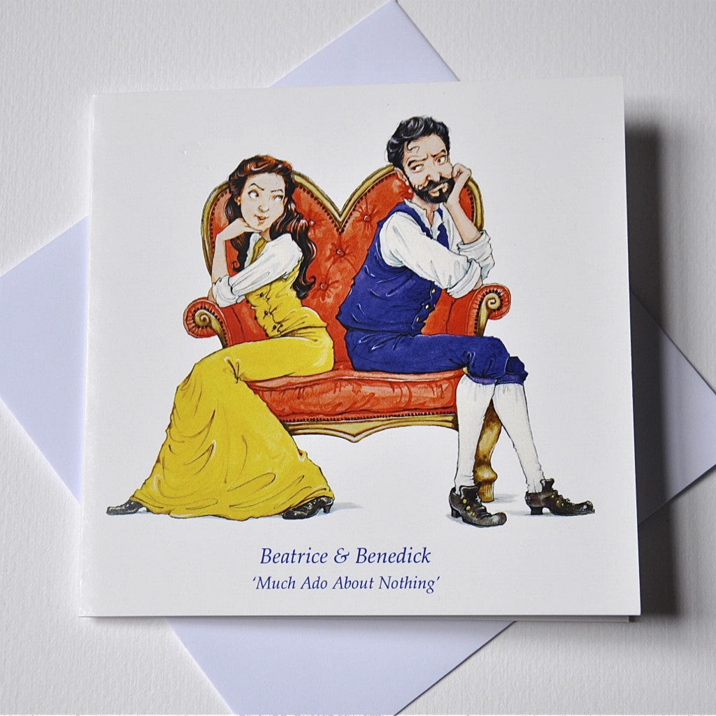 'Beatrice & Benedick' Shakespeare Greeting Card - The Little Bookish Gift Co