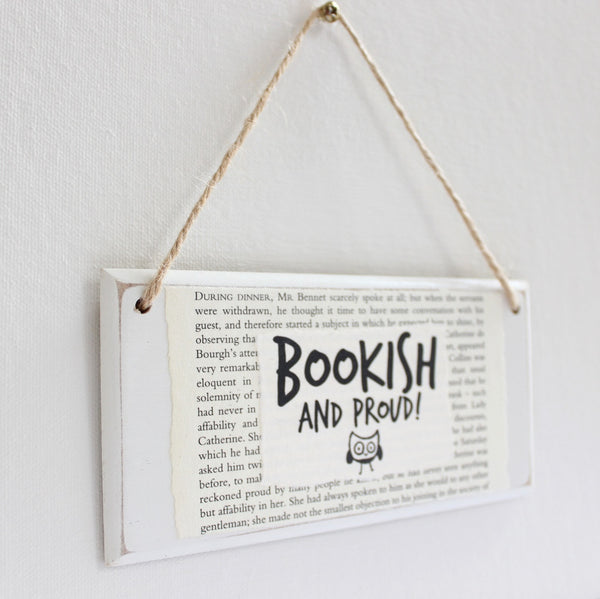 'Bookish & Proud' Wooden Door Sign - The Little Bookish Gift Co - 3