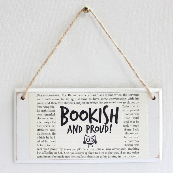 'Bookish & Proud' Wooden Door Sign - The Little Bookish Gift Co - 2