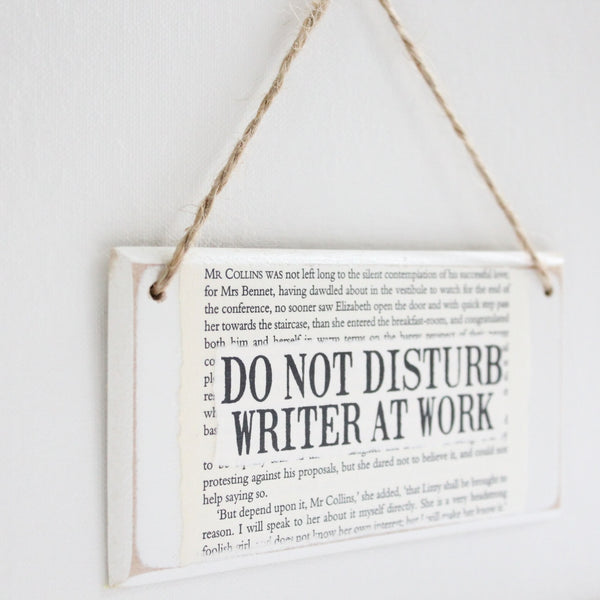 'Do Not Disturb Writer At Work' Wooden Door Sign - The Little Bookish Gift Co - 3