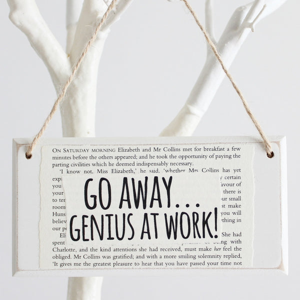 'Go Away Genius At Work' Wooden Door Sign - The Little Bookish Gift Co - 1